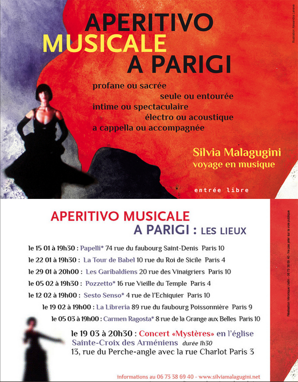 Aperitivo musicale a Parigi janvier, février, mars 2015