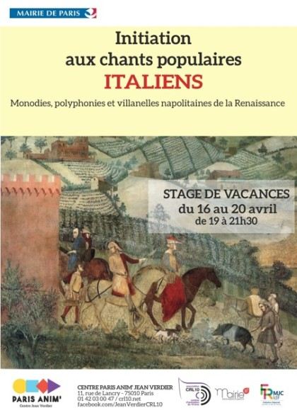 Stage initiation chants populaires italiens